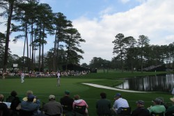 Patrons watching The Masters at Augusta National Golf Course
