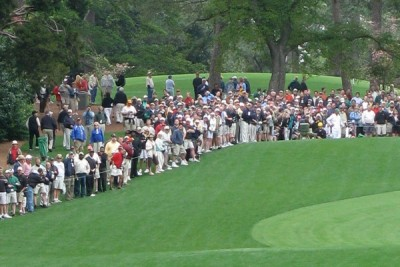 Patrons watching The Masters at Augusta National Golf Club