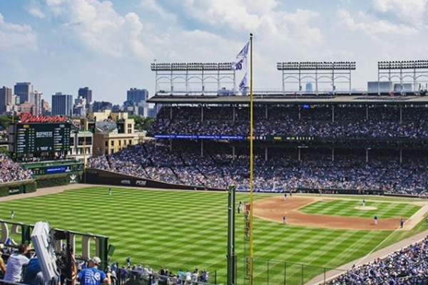 View from outside Wrigley Field from a Rooftop