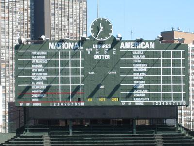 View of the famous Wrigley Field Scoreboard