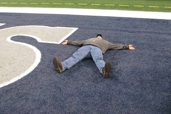 Cowboys fan in the endzone of AT&T Stadium