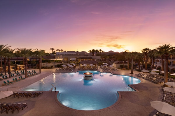 The Fairmont Scottsdale Princess Resort pool at sunset