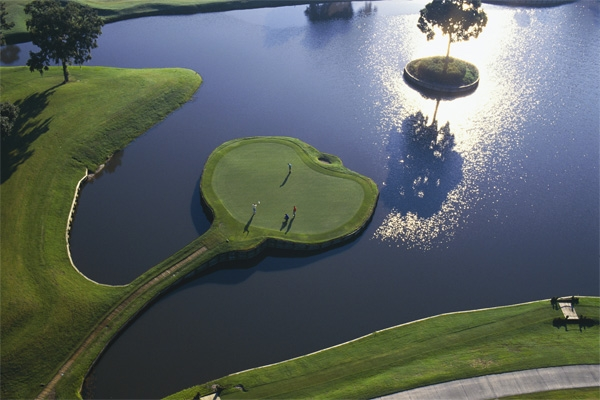 Aerial view of the 17th Island Hole at TPC Sawgrass Golf Course