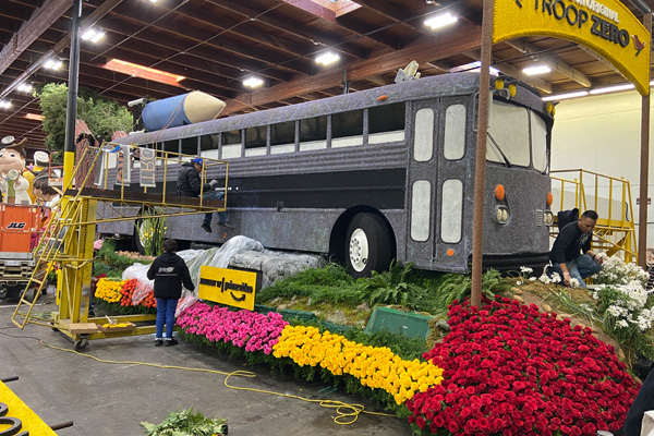 Float Decorating before the 2020 Rose Parade