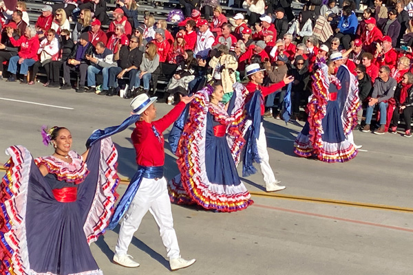 Dancers from Costa Rica performing at the 2020 Tournament of Roses Parade